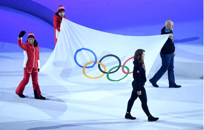 The Olympic flag is seen during the opening ceremony